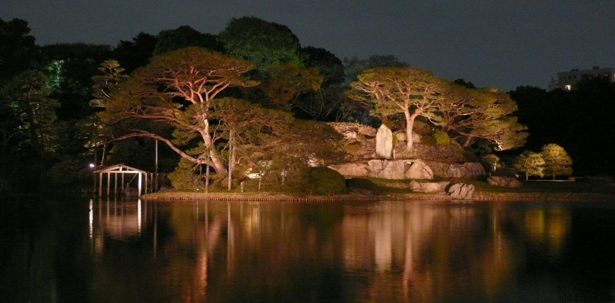 late evening opening and light up of nearby park: rikugien